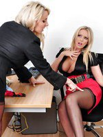 Gorgeous Milf Lucy Zara tied up and teased at work by sexy blonde office slut