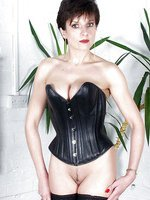 Leather corset milf