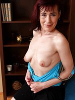 Petite and elegant Kate T from AllOver30 showing off her hairy pussy