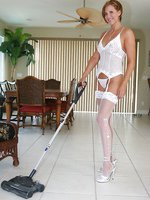 Hot busty wife cleaning the house in lingerie and sheer stockings
