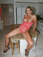 Blonde Milf Wife In Sexy Lingerie in the Kitchen