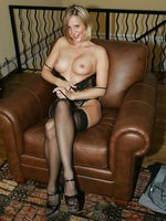 Hot blonde milf wife in Lacey Teddies and Sheer Black Stockings