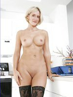 Desirae in Lace Lingerie & Stockings Black Dildo Kitchen Sink