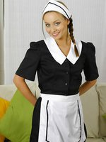 Sexy Carla in waitress uniform with stockings