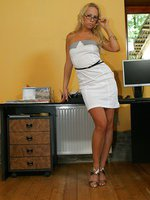 Blonde secretary slut Carla Cox fucking at work