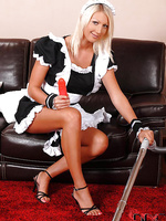 Hungarian maid vacuums her tits