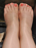Pantyhose feet close up