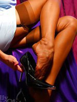 Endless sexy legs in sheer nylons and high heels