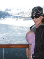 Kelly's big tits on a ship in Alaska!