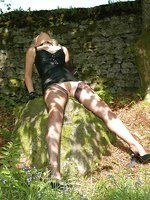 toying in the woods in nylons soft
