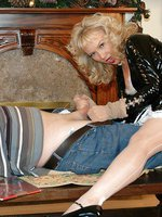 milf gives special nylon handjob treat