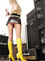 Alina smoke cigarettes on soundcheck in sexy short skirt and high heels boots