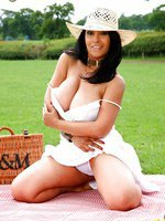 Danica Collins enjoys a picnic and a wank