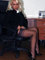 Busty blonde secretary Lana has some kinky alone time on the bosses desk