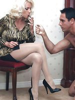 Leggy Lana has some smoking fun with her slave