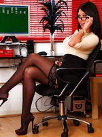 Secretary Lexi Lowe in stockings and high heels