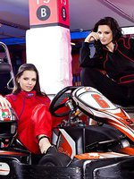 Lesbian girlfriends get turned on while racing with gokarts