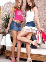 Anita Pear and Sandra Shine getting horny for some lesbian fun after shopping