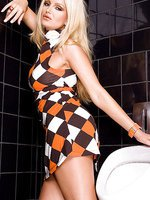 Blonde sex addict Sandra Shine gets naughty in the mens restroom