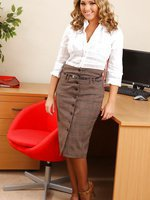 Wonderful blonde Jodie in tight pencil skirt and stockings
