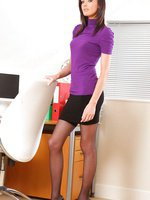 Lauren is such a leggy beauty in this set with tight knitted top and miniskirt with stockings