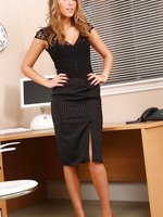 Darcy looks beautiful in her black lace top and tight pencil skirt.