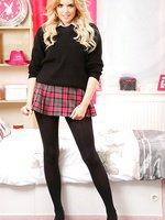 Very short tartan skirt and black opaque pantyhose - a perfect combination