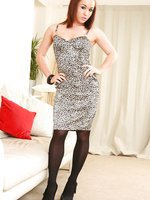 Kayleigh looks stunning in her black and white dress white black opaque stockings.