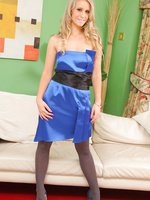 Stunning Candice in a blue satin evening dress, pantyhose and high heels.