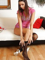 Pamela gets meatstick through hosiery panty-hose shagging