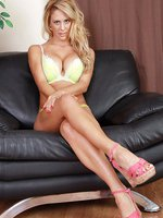 Blonde 32 year old MILF Cherie Deville spreads and plays with her feet