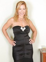 Natural titted Rachel from AllOver30 in and out of a black evening dress