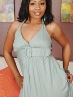33 year old Ebony MILF Anita Peida slips out of her elegant dress