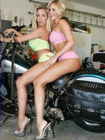 Sexy Busty Babes in This Girl Girl Set with Short Skirts On Motorcycle Stripping