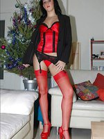 Darling feels fiery in red lingerie