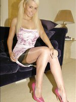 Blonde bombshell in shimmery stockings