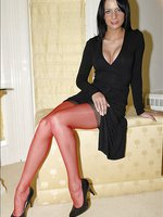 Beauty wears red stockings