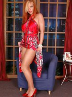 Flexible honey dazzles in red dress