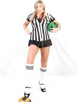 Referee hottie in nylons looks wonderful