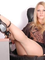 Blonde in pantyhose and heels