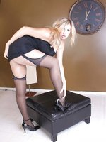 Blonde in nylons shows all