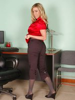 Blonde stuns in grey pantyhose