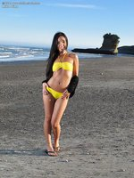 Asian hottie in yellow bikini