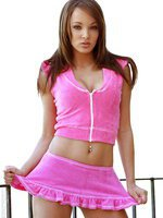 Hot pink skirt with top and black bra, pantys