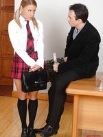 Schoolgirl in uniform gets punished