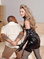 Katy Caro in latex with two guys