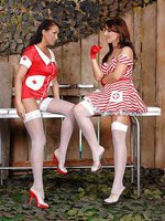 Smoking nurses spanking each other