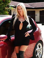 Naughty Lucy Zara car flashing in public in a skin tight dress with no underwear on