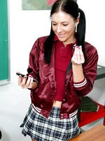 Cute ass brunette schoolgirl in pigtails gets bent over and banged