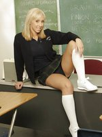 Fine ass blonde schoolgirl sucks her teachers cock for an A